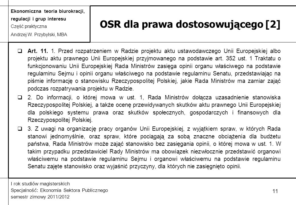 OSR dla prawa dostosowującego [2]